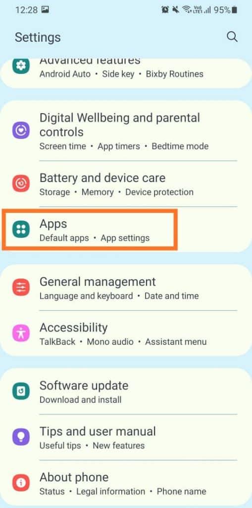 Apps in settings