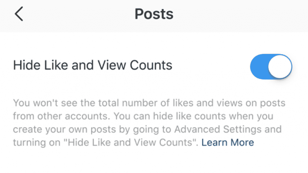 Steps to hide likes and views of other people's posts