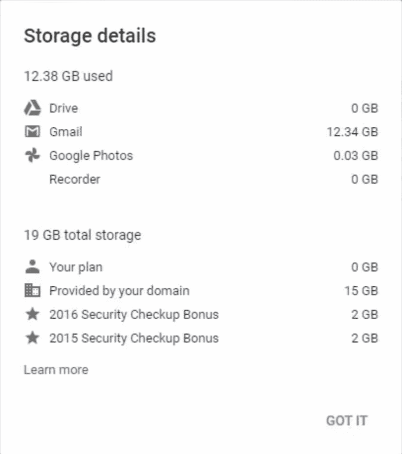 Sample Google storage quota pop-up showing space used