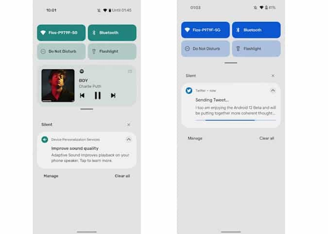 What the new Notifications look like on Android 12