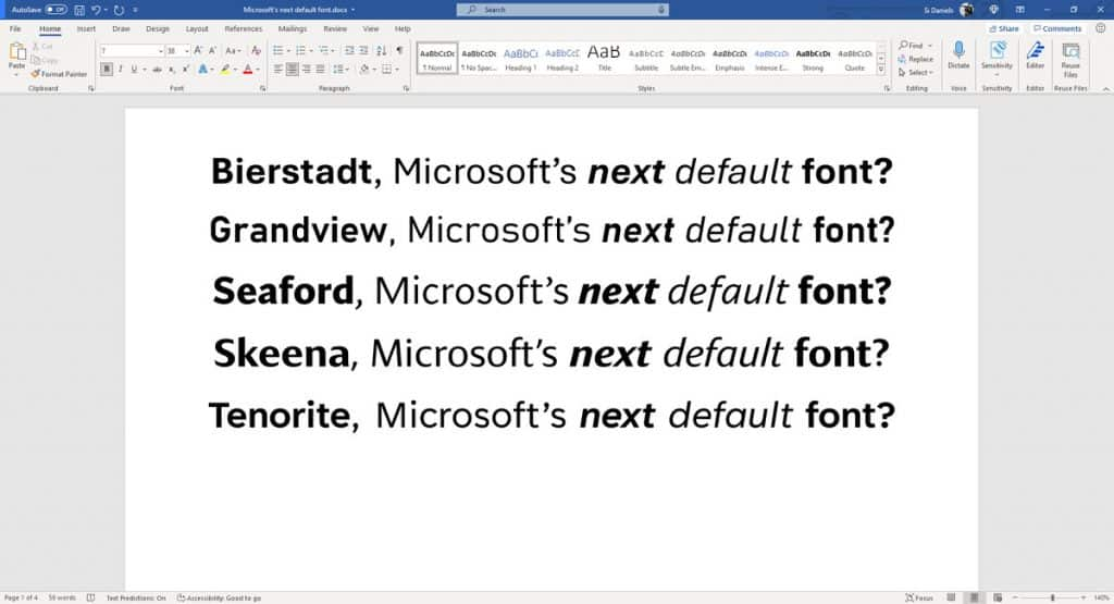 Five new fonts to choose from to replace Calibri as the default font