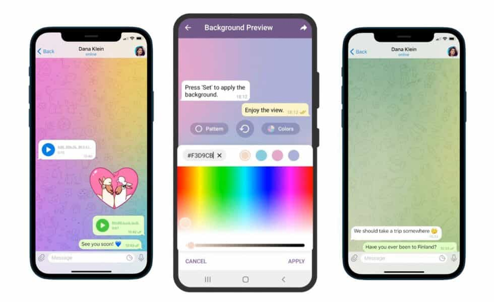 Telegram added in animated backgrounds feature