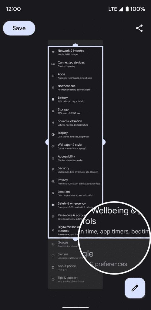 Beta 3: Scrolling screenshots