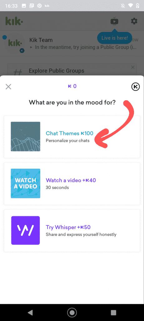 tap chat themes to install kik themes