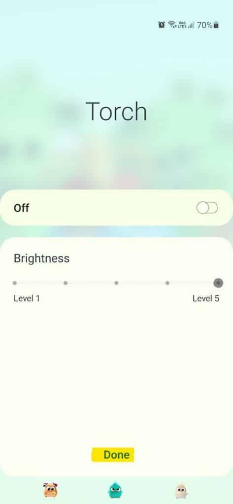 tap done to increase flashlight brightness