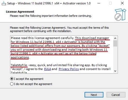 Malware posing as a genuine Windows 11 installer
