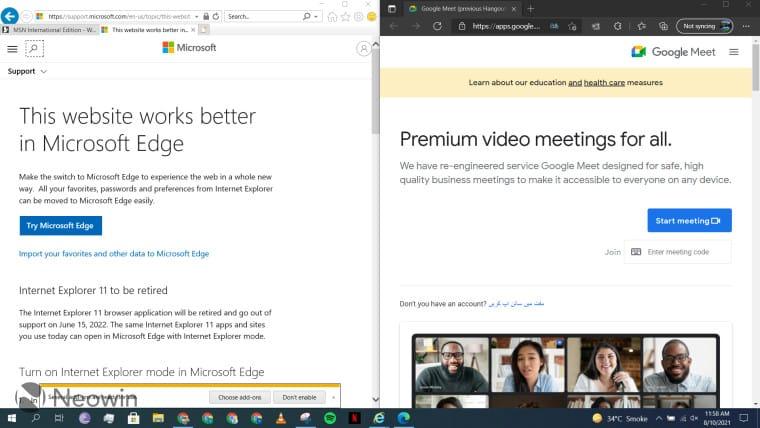 Google Meet settings on Internet Explorer 11
