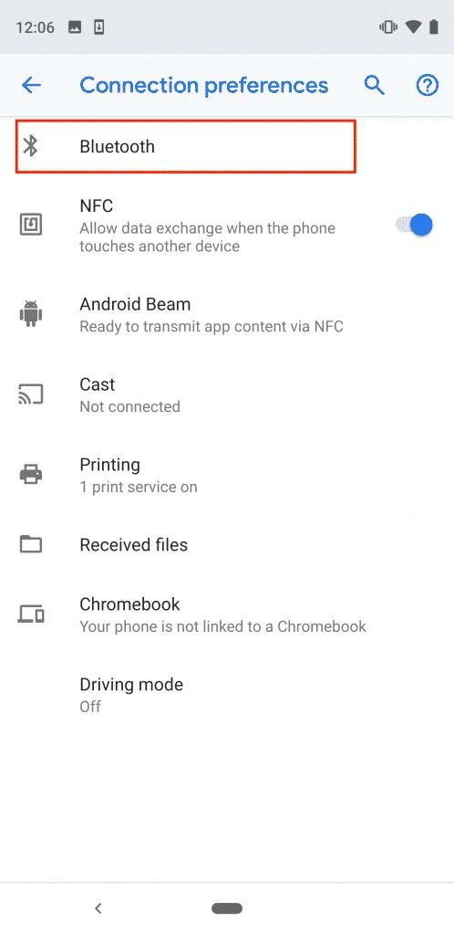 Select Bluetooth settings